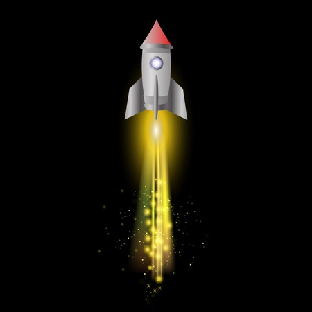 Space Rocket on Night Sky Background. Launching Spacecraft.
