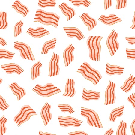 Cut Bacon Seamless Pattern Isolated on White Background Illustration