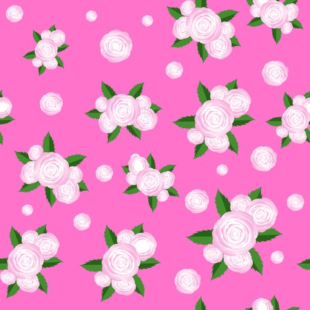 centifolia: Bouquet of Roses Randon Seamless Pattern on Pink Background Illustration