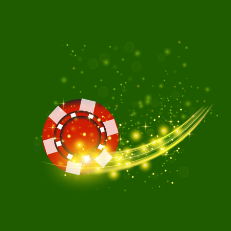 bets: Gambling Plastic Colored Red Chip on Green Cloth Background