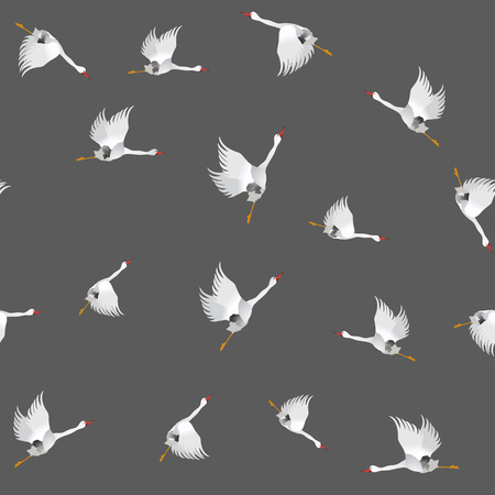 migration: White Geese Seamless Pattern on Grey Background. Animal Bird Texture.