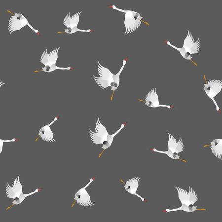 migrating: White Geese Seamless Pattern on Grey Background. Animal Bird Texture.