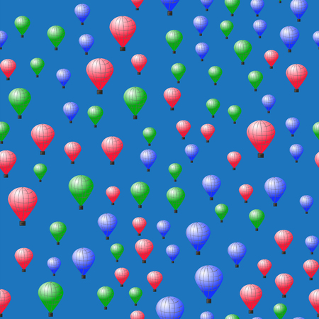Colored Stratospheric Balloons Seamless Pattern on Blue Background Illustration