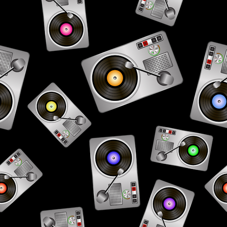 disk jockey: Vinyl Record Players Seamless Pattern on Black Background