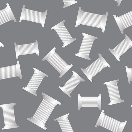 Greek Column Seamless Pattern on Grey Background Illustration