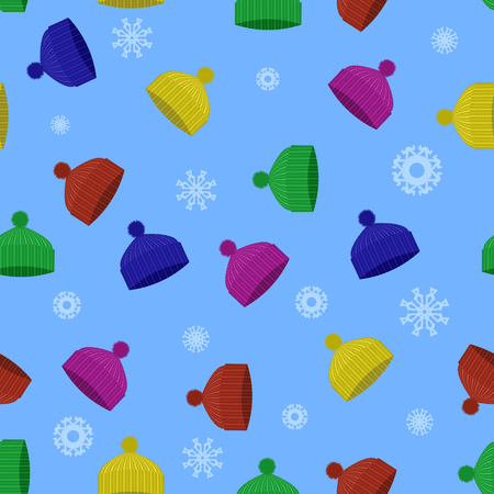 Colorful Winter Knitted Hat Seamless Pattern with Snowflakes on Blue Background Illustration