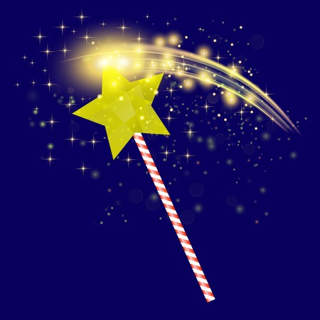 Realistic Magic Wand with Starry Lights on Blue Background Illustration
