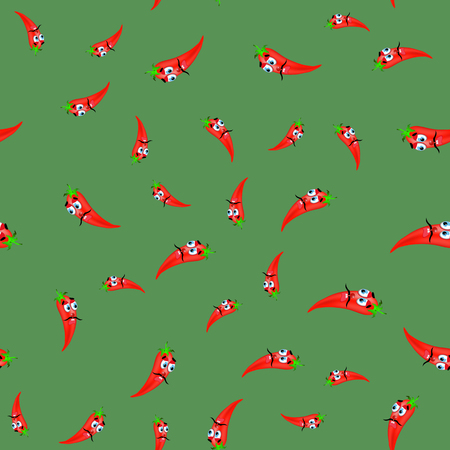 intact: Hot Cartoon Red Peppers Seamless Pattern on Green Background Illustration