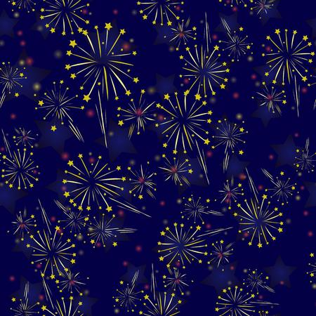 青の背景に星空花火シームレス パターン