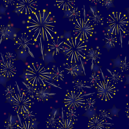 Starry Firework Seamless Pattern on Blue Background Ilustração
