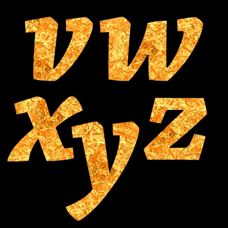 Yellow Letters of Alphabet Isolated on Black Background