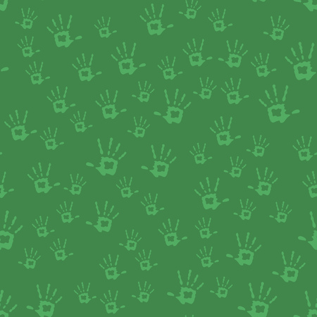 Human Hands Seamless Pattern Isolated on Green Background