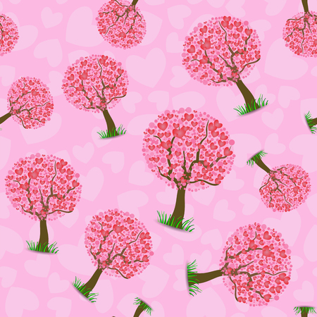 Heart Tree Pattern Isolated on Pink Background