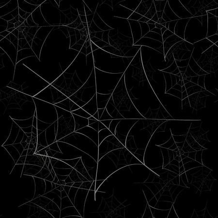 Spider Web  Seamless Pattern on Black Background Stock Illustratie