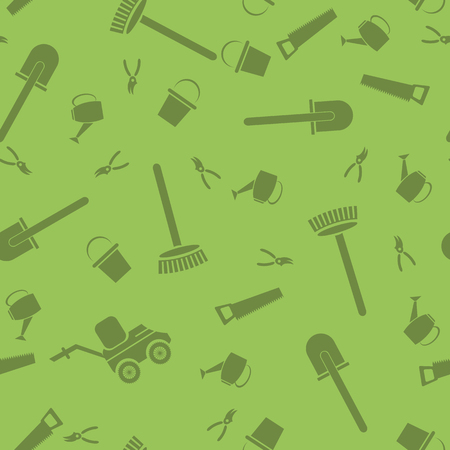 Garden Tools Silhouettes Seamless Pattern Isolated on Green Background