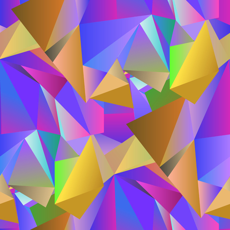 displacement: Colorful Crystal Seamless Pattern. Low Polygonal Design