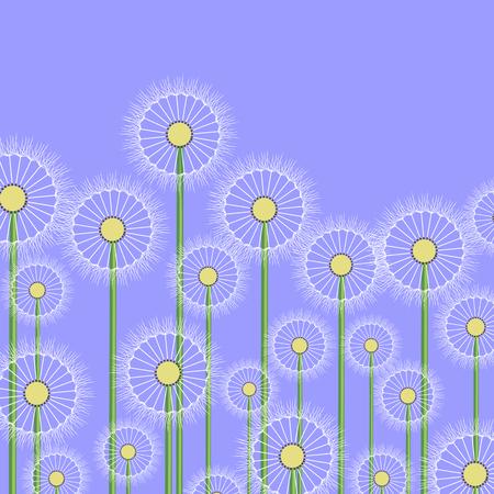 decode: Spring Dandelion Flower Pattern on Blue Background Illustration