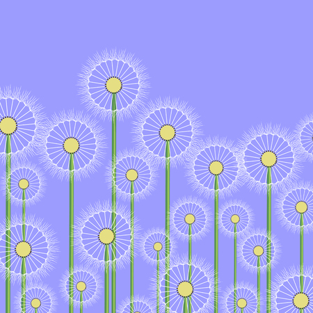 Spring Dandelion Flower Pattern on Blue Background Illustration
