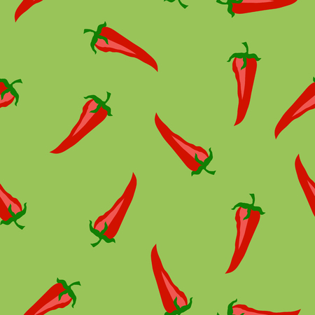 intact: Red Hot Pepper Seamless Pattern Isolated on Green Background