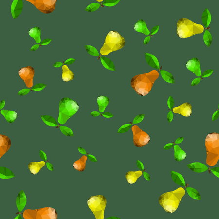 Polygonal Pear Seamless Pattern Isolated on Green Background Illustration