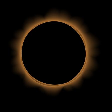 Full Solar Eclipse Isolated on Black Background vector illustration.