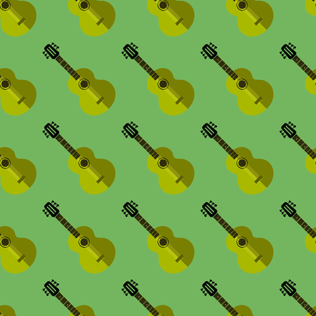 Guitar Silhouette Seamless Green Background. Musical Instrument Pattern