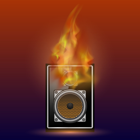 subwoofer: Musical Black Speaker and Firre Flame Isolated on Blurred Red Blue Background