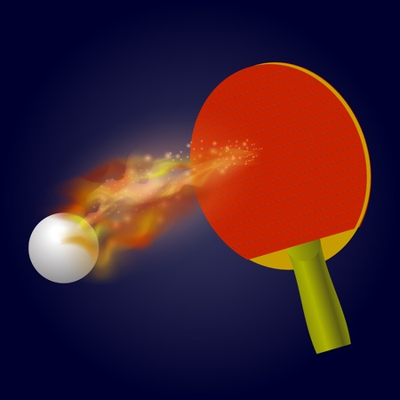Table Tennis Racket and Ball with Fire Flame Isolated on Blue Background