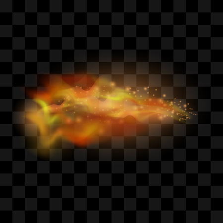 Flame Isolated over Checkered Black Background. Hot Red and Yellow Burning Fire with Flying Embers
