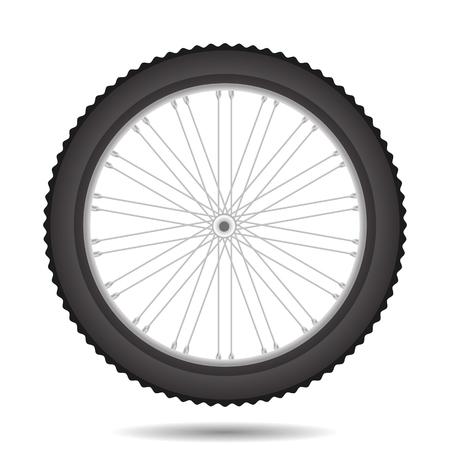 白い背景に分離された自転車ホイール アイコン