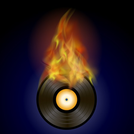 grooves: Burning Vinyl Disc with Fire Flame Isolated on Blue Background