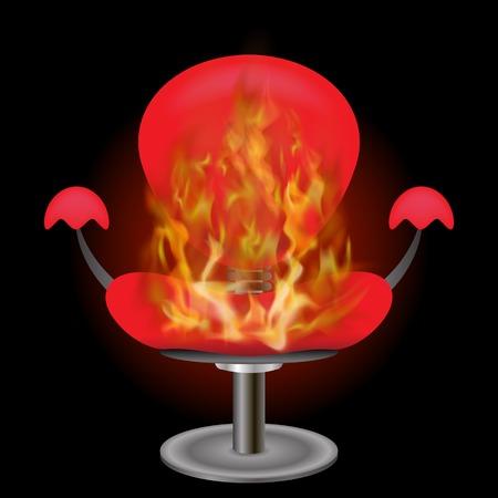 Brennender roter Lehnsessel mit der Feuer-Flamme lokalisiert auf schwarzem Hintergrund