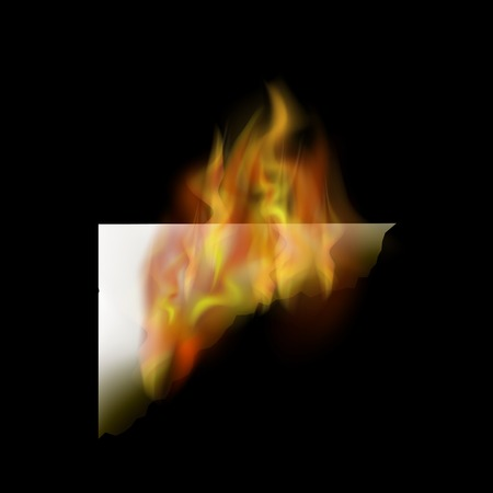 Burning White Paper with Fire Flame Isolated on Black Background