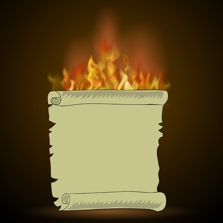 Burning Old Paper with Fire Flame Isolated on Black Background