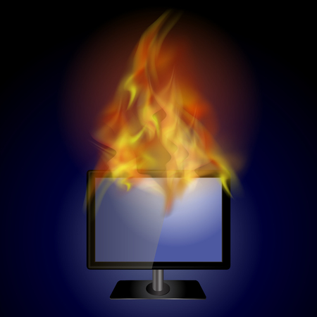 lcd display: Burning Screen Monitor with Fire Flame on Blue Background Illustration