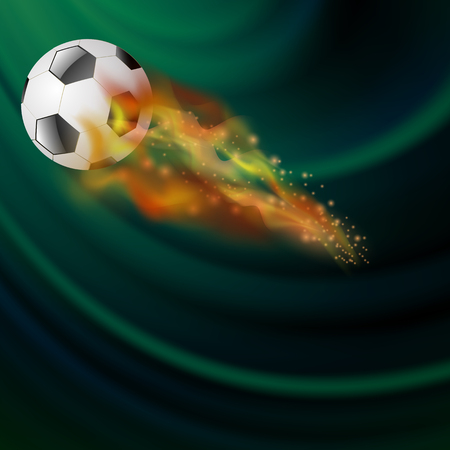 Burning Sport Football Icon with Sparcles and Flares on Dark Green Background