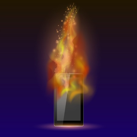 phone: Burninng Tablet Computer with Fire Flame Isolated on Blue Background Illustration