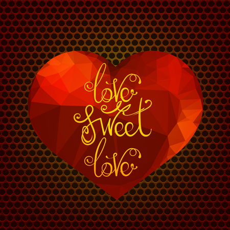 Vector   Vintage Hand Lettering Isolated On Red Heart Background. Romantic  Love Quote Design