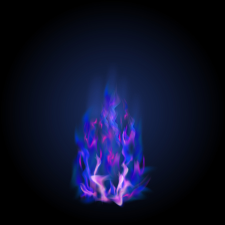 Blue Burning Fire Flame Isolated on Dark Background Vector Illustration