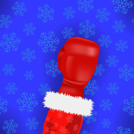 Boxing Santa with Red Glove on Blue Snowflake Background vector illustration