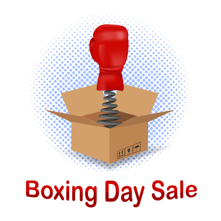 Boxing Day Sale Icon with Red Glove and Open Cardboard Isolated on White Background