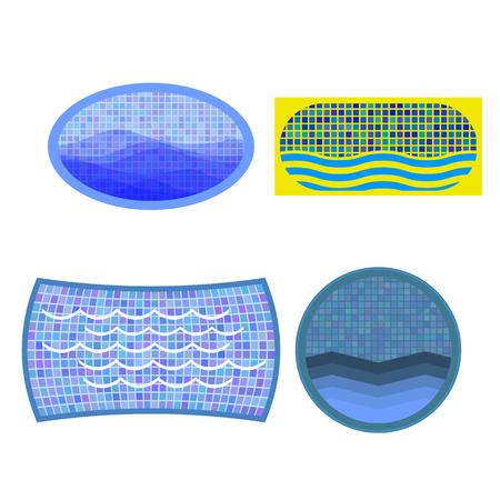 흰색 배경에 고립 된 수영장 아이콘 집합 일러스트