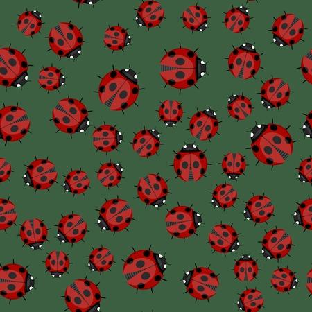 ladybug: Ladybag Seamless Pattern on Green Background. Ladybird Texture