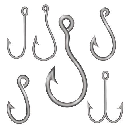 fishhook: Set of Different Steel Hooks Isolated on White Background