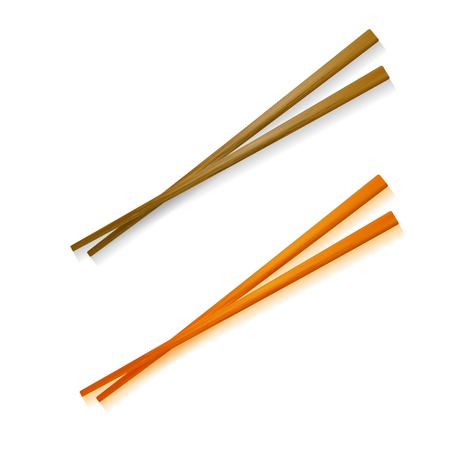 Traditional Colored Asian Chopstick Illustration