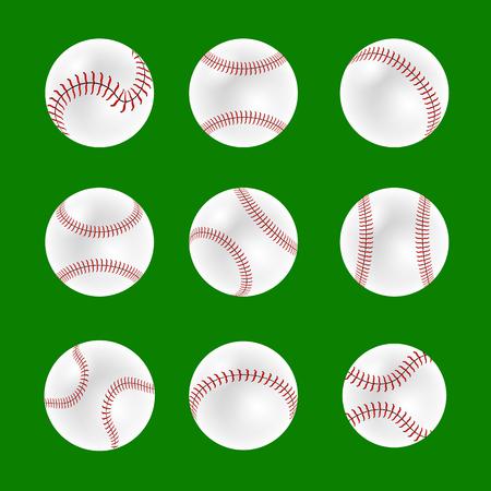 Set of Baseball Balls Isolated on Green Background Çizim