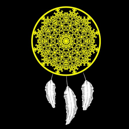 swelled: Dream Catcher Silhouette with Feathers Isolated on Black Background Illustration