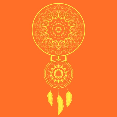Dream Catcher Silhouette with Feathers Isolated on Orange Background
