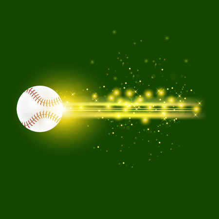 Burning Baseball Ball with Yellow Sparkles Isolated on Green Background