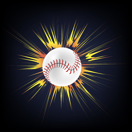 Baseball Ball with Yellow Explosion Isolated on Dark Background